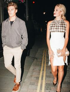 PIXIE LOTT and OLIVER CHESHIRE at Chiltern Firehouse http://www.whats-he-wearing.com/2014/07/oliver-cheshire-dolce-gabbana-reversible-jacket-grenson-archie-brogue-shoes-pixie-lott-christopher-kane-gingham-dress-chiltern-firehouse.html