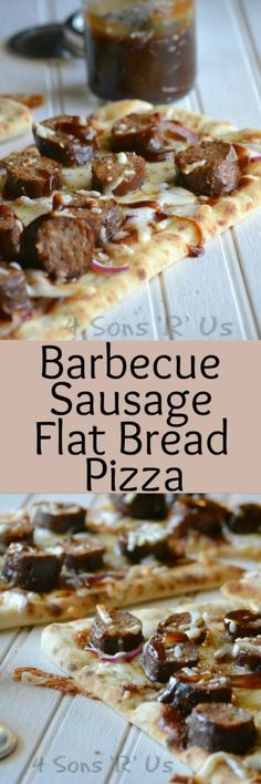 ... sausage, melted mozzarella cheese, barbecue sauce, thinly sliced red