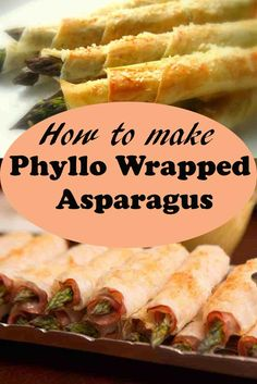 A tasty snack for an afternoon activity. Phyllo wrapped asparagus is ideal for any occasion. Soft tender asparagus inside and crispy phyllo on the outside.