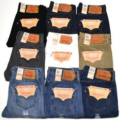 Levis 501 Jeans Button Fly Mens Denim Stonewashed W30 W32 W34 W36 W38 #Levis #ClassicStraightLeg