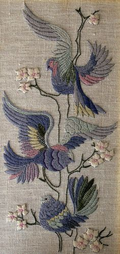♒ Enchanting Embroidery ♒  embroidered birds and berries