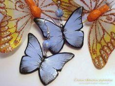 Серьги из полимерной глины «Тропические бабочки»
