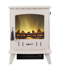 ELECTRIC STOVE LED LOG 2KW HEAT OUTPUT LOG FIRE LIGHT CREAM ENAMEL STOVE BURNER