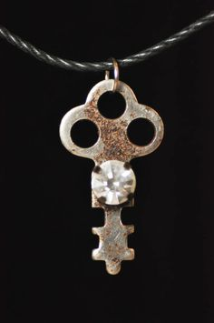 Small key necklace with vintage rhinestone by RagsAndOldIron13