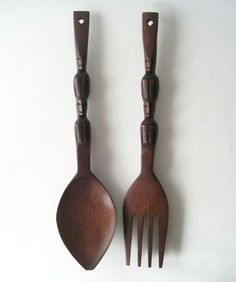 Classic wooden fork and spoon set