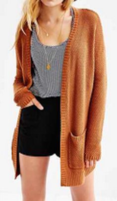 Long burnt orange cardigan