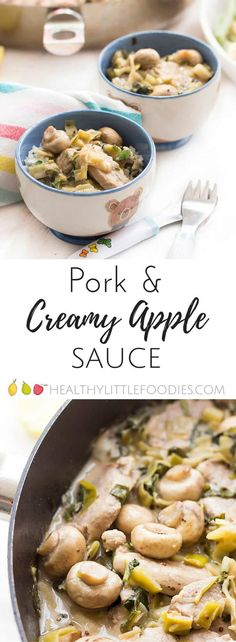 Pork cooked in a creamy apple sauce. A perfect family dish that is rich in iron. Great for BLW (Baby led weaning) and can be pureed to make a tasy, iron rich baby puree Baby Puree Recipes, Pork Recipes, Baby Food Recipes, Sauce Recipes, Lunch Recipes, Dinner Recipes, Healthy Meals For Kids, Kids Meals, Healthy Recipes