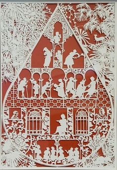 scherenschnitte (shear-n-SNIT- a)  > The art of cutting continuous paper designs. The art work often has symmetry within the design. The art tradition was founded in Switzerland and Germany in the 1500s and was brought to Colonial America in the 1700s by immigrants who settled primarily in Pennsylvania.