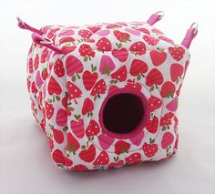 Mini Cozy Critter Cube | Rat Cube | Sugar Glider Hide | Mouse Bed | Cage Accessories | A fabulous cozy cube bed, great for rats, mice and sugar gliders. Featuring a soft fleece interior for you fuzzies comfort, this bed is 5 inches high, 5 inches wide and 5 inches deep. Can be hung up or floor standing. This one is in Pink Strawberries style but there's many more styles to choose from. Available to buy at crittercorner.co.uk . £10.00