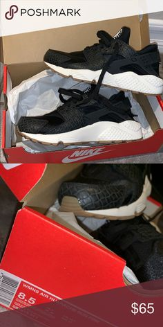 7872427da260 Wmns air huaraches Black huarache with leather pattern white and beige on  the bottom Nike Shoes