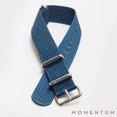 Dark Blue nato with steel buckle: http://momentum-dubai.com/collections/watch-straps/products/watch-strap-nato-dark-blue