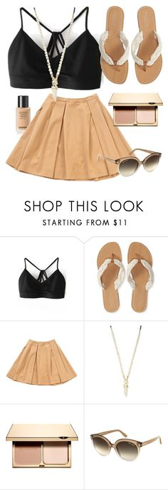 """""""Summer's Beige"""" by sarahwuzhere ❤ liked on Polyvore featuring Aéropostale, Christian Dior, Cara, Clarins and Tom Ford"""