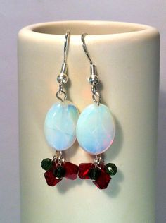Faceted opal quartz ovals top Swarovski crystals in red and green - the perfect accessory the Christmas season.    From the top of the hook to the bot