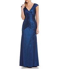 Kay Unger FuaxWrap Banded Satin Gown #Dillards