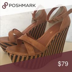 Italian leather ankle strap wedges Lightly worn. Pour la Victore from Bloomingdales. Pour la Victoire Shoes Wedges