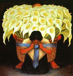 #Diego Rivera #flower artwork,  painting. Latin american artist