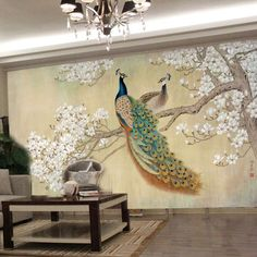 photo wallpaper  modern art painting Chinese living room bedroom TV backdrop bird Peacock Magnolia large mural wallpaper