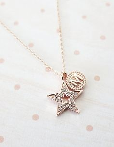 Personalised Lucky Star necklace - simple rose gold filled necklace with a lucky Star, crystal, chic, simple, best friends, sisters- N0004RG
