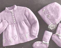 Baby Knitting Pattern Heart Sweater Bonnet & Booties Pattern PDF Instant Download 6 Months K24
