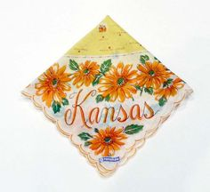 Pre Holiday Sale !!! Kansas State Hanky -  Franshaw Hankie - #Vintage Handkerchief offered by TheJewelSeeker  This is a highly collectible state hankie.  It has the states... #teamlove #vintage #jewelry #thejewelseeker