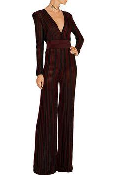 Balmain | Striped stretch-knit jumpsuit | NET-A-PORTER.COM