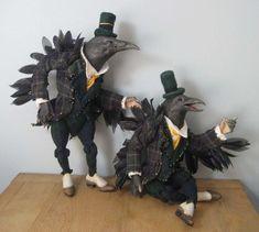Anthropomorphic Crow Doll Pair.