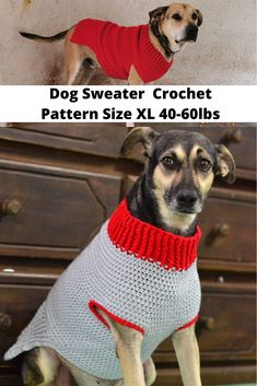 The Doggy Sweater Size Extra Large - Crochet it Creations Crochet Dog Sweater Free Pattern, Crochet Stitches Patterns, Dog Crochet, Crochet Crafts, Large Dog Clothes, Pet Clothes, Large Dog Sweaters, Crochet Dog Clothes, Dog Jumpers
