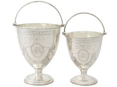 Antique George III Pair of Sterling Silver Sugar Baskets (London) c.1780.