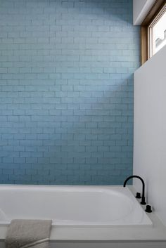 Bronte House by Kate Bell Design - est living - blue tile bathroom Bathroom Interior Design, Home Interior, Interior Decorating, Bathroom Color Schemes, Bathroom Colors, Small Bathroom, Blue Bathrooms, Minimal Bathroom, Bad Inspiration