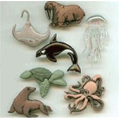 JJ-4664 Sea Creature Buttons and Flat Back