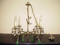 LAMPARA  DE BRONCE DE VELA Y CON LAGRIMAS