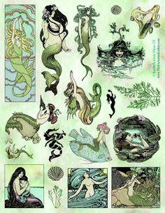 Mermaid rubber stamps siren lady of the lake Art Nouveau bookmark vintage book fairytale illustrations<br> Arte Sketchbook, Mermaid Art, Tattoo Mermaid, Vintage Mermaid Tattoo, Mermaid Poster, Mermaid Drawings, Siren Tattoo, Siren Mermaid, Tattoo Vintage