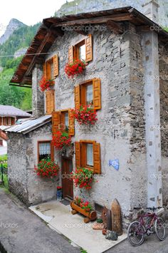 Mountain chalet in a typical village of the Trentino region in Italy