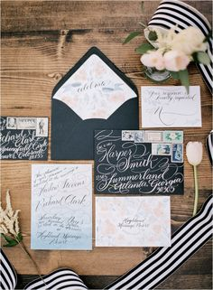 Black and white hand lettered wedding envelopes Black And White Wedding Invitations, Blush Wedding Invitations, Wedding Invitation Inspiration, Wedding Envelopes, Wedding Stationary, Wedding Inspiration, Wedding Ideas, Wedding Details, Wedding Colors
