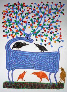 Art Gallery In Delhi, Gond Painting, Indian Folk Art, Special Characters, Tribal Art, Livestock, All Art, Art Forms, Contemporary Art