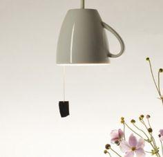Jan Bernstein's pendant teacup light (the light pull is so cute!)