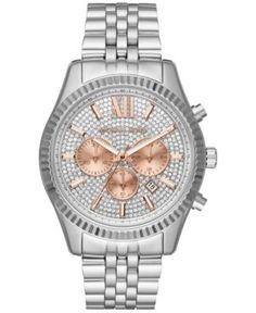 Michael Kors Men's Chronograph Lexington Stainless Steel Bracelet Watch 44mm MK8515 - Silver