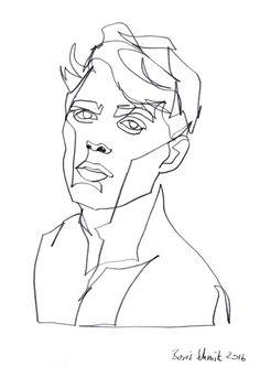 """borisschmitz:    """"Gaze 345″, continuous line drawing by Boris Schmitz"""