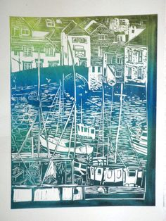 Polperro Harbour Blended colour on Fabriano -  Bella Bee.