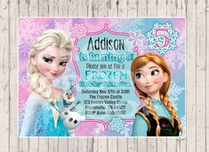 25 Printed Frozen Birthday Invitation Queen Elsa Princess Anna
