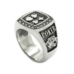 Poker Stars Сlubs Diamonds Spades Hearts Men's Ring Silver 925 with Black Enamel Ladies Silver Rings, Gold Rings, Mens Skull Rings, Mens Ring Designs, Mens Sterling Silver Necklace, Onyx Necklace, Gold Sapphire Ring, Men's Jewelry Rings, Gold Jewellery