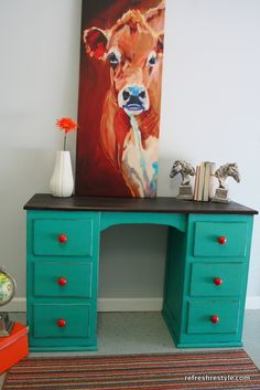 Awesome desk redo (and Cow Painting)