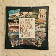 Framed postcards of countries i've been to around this print.