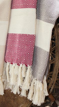 Turkish Towel 40x68 Diamond pattern in Natural, Red, or Slate Grey.  Lofty, absorbent weave. 100% cotton #TT002 $36. ea.