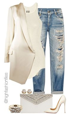 """Boyfriend Jeans"" by highfashionfiles ❤ liked on Polyvore featuring R13, Rick Owens, Haute Hippie, ABS by Allen Schwartz, Jimmy Choo, Christian Louboutin and Yochi"