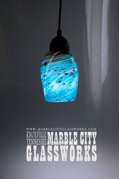 Aqua Swirled Coffee Amber  6  Pendant by MarbleCityGlassworks
