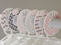 Looking for a unique baby shower gift? These baby closet dividers will help organize any closet. They come in the sizes shown or 2T, 3T, 4T, 5, 6, 7. FITS 1.25 RODS OR SMALLER.  These are sent to you already assembled in box with a sticker on each side so it can be seen from either direction.  ---{ I N F O }--- Laser printed on high quality sticker paper. The plastic dividers are 3.5 with a 1 3/8 hole in the center for attaching to your closet rod. The dividers are made of durable plasti...