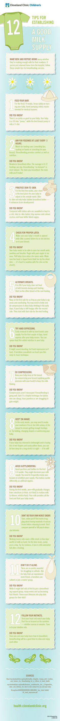 12 Tips for Establishing a Good Breast Milk Supply #infographic #breastfeeding