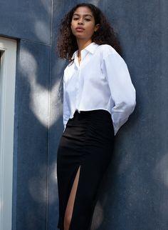 CLOONEY BLOUSE - Cropped button-up shirt Blouse And Skirt, Blouse Dress, Jacket Dress, Dress Skirt, New Pant, Denim Leggings, Shirt Blouses, Shirt Style, Button Up Shirts