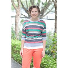 """Nap Time Creations Slouchy Sweatshirt Sewing Pattern - A fun women's top that can be dressed up or """"slouched"""" down. With two sleeve options and endless fabric possibilitiesyou might just need about 10 of these for the cooler months. The drop shoulders are the defining feature of this supercomfortable sweatshirt. Use sweater fabric for a dressy look or sweatshirt fleece for a casual look. Upsize for a largerstyle that still fits great, or make the fitted size for a look that can layer or be…"""
